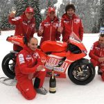 Ferrari bubbles are used to baptize the new Ducati at Wrooom