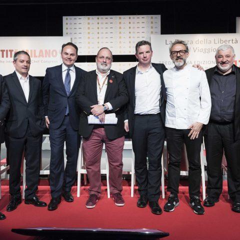 Maurizio Saccani, Marco Reitano, Matteo Lunelli, William Drew, Massimo Bottura, Umberto Bombana