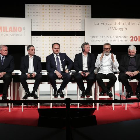 Maurizio Saccani, Marco Reitano, Matteo Lunelli, William Drew, Massimo Bottura, Umberto Bombana, Soren Ledet