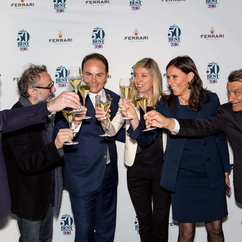 Raffaele Alajmo, Massimo Bottura, Matteo Lunelli, Helene Pietrini, Camilla Lunelli, Mauro Governato