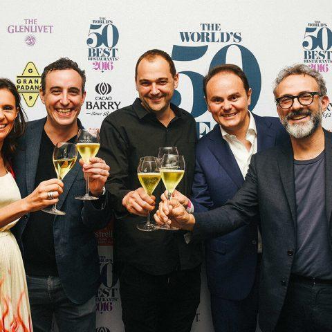 Camilla Lunelli, Will Guidara, Daniel Humm, Matteo Lunelli e Massimo Bottura