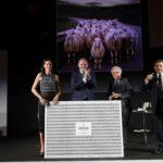Paolo Panerai ritira il Premio Articolo dell'Anno per il Wall Street Journal. Nella foto con Camilla e Matteo Lunelli e Duilio Giammaria