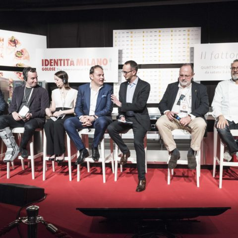 Will Guidara, Josep Roca, Massimo Bottura, Matteo Lunelli, Laura Price at the Art of Hospitality panel