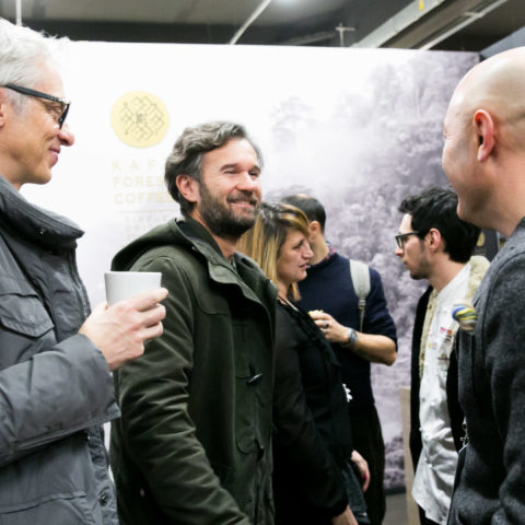 Carlo Cracco at the Ferrari Trento stand